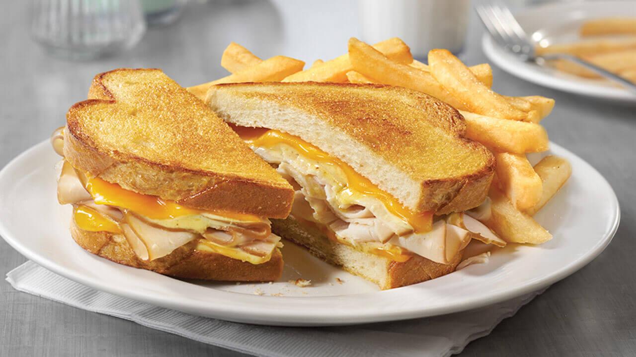 Turkey Cheddar SuperMelt(R) Sandwich & Fries