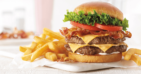Double cheese burger with french fries